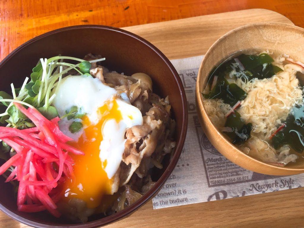 豚丼&卵スープ